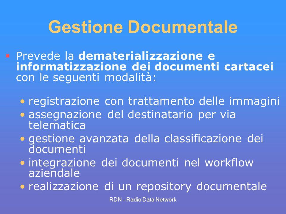 RDN - Radio Data Network Gestione Documentale Prevede la dematerializzazione e informatizzazione dei documenti cartacei con le seguenti modalità: regi