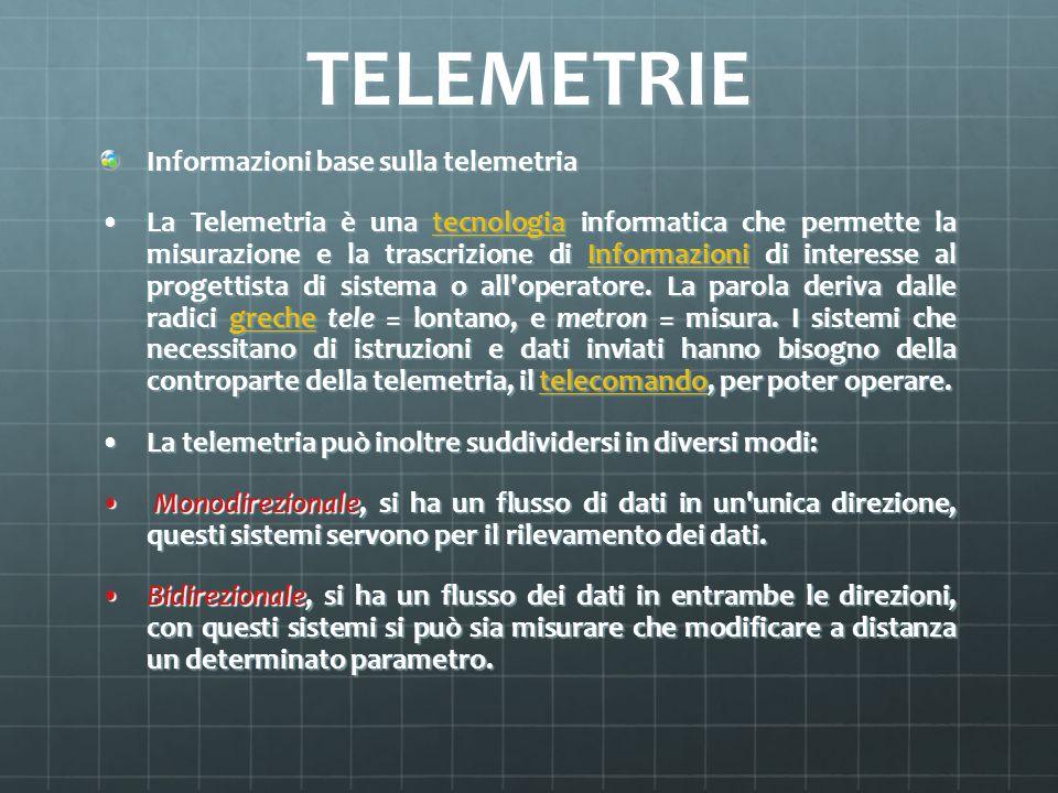 TELEMETRIE Informazioni base sulla telemetria La Telemetria è una tecnologia informatica che permette la misurazione e la trascrizione di Informazioni
