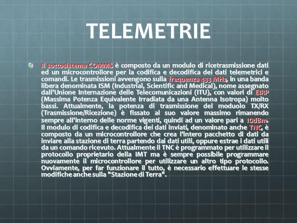 TELEMETRIE Il sottosistema COMMS è composto da un modulo di ricetrasmissione dati ed un microcontrollore per la codifica e decodifica dei dati telemet
