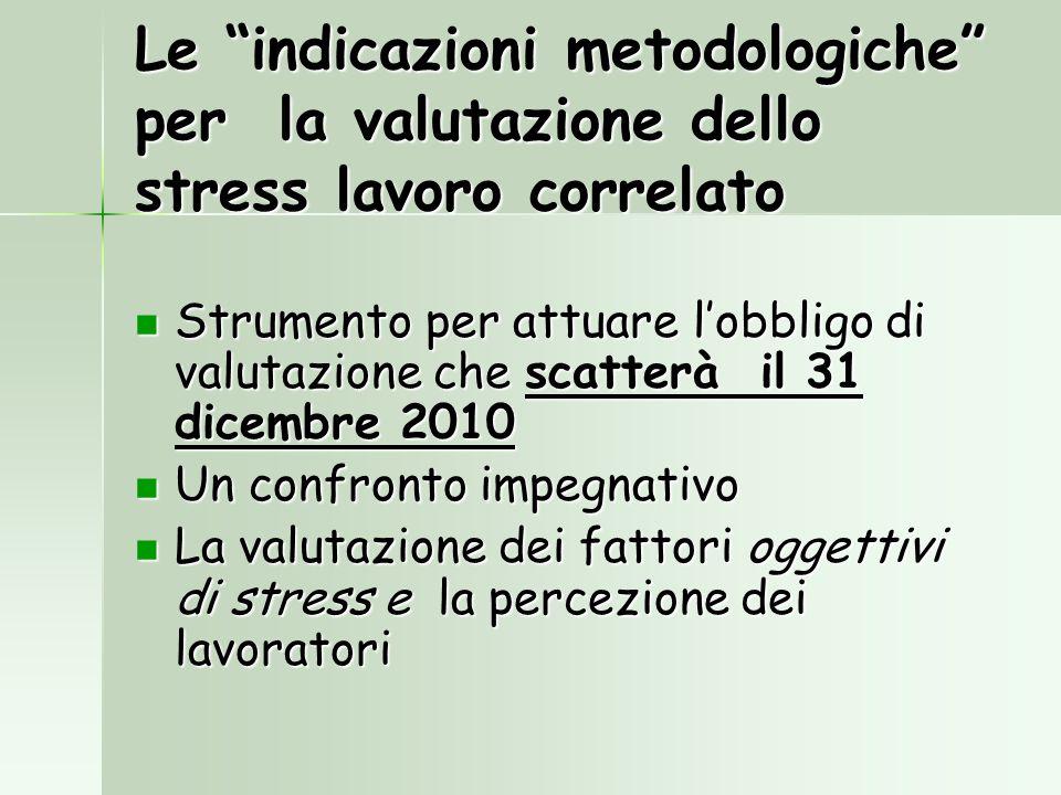 Le indicazioni metodologiche per la valutazione dello stress lavoro correlato Strumento per attuare lobbligo di valutazione che scatterà il 31 dicembr