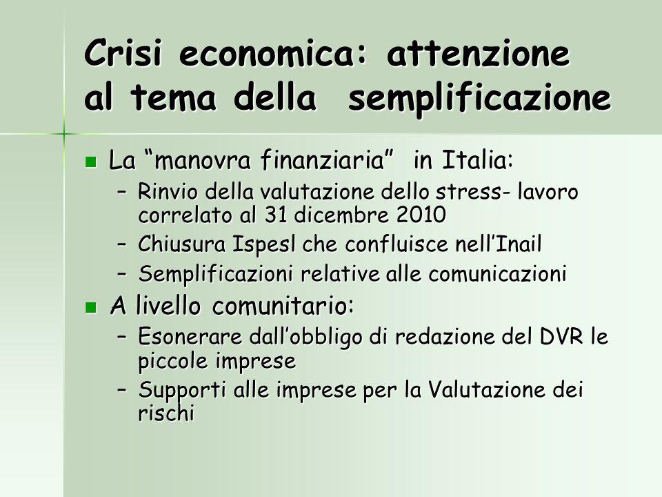 Crisi economica: attenzione al tema della semplificazione La manovra finanziaria in Italia: La manovra finanziaria in Italia: –Rinvio della valutazion