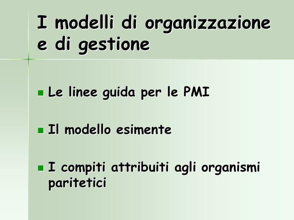 I modelli di organizzazione e di gestione Le linee guida per le PMI Le linee guida per le PMI Il modello esimente Il modello esimente I compiti attrib