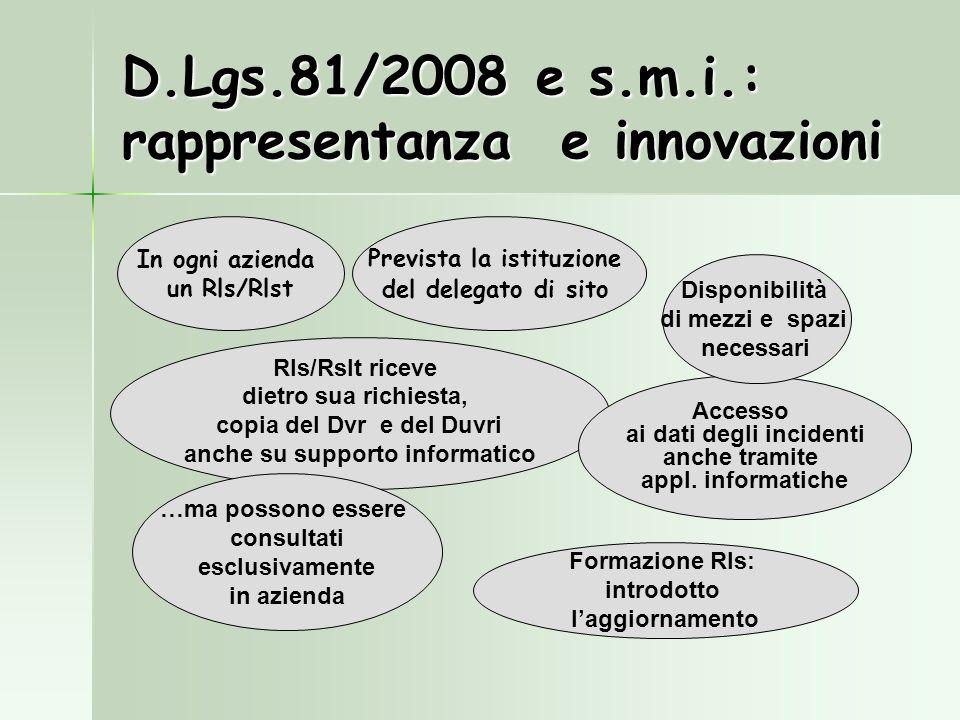 D.Lgs.81/2008 e s.m.i.: rappresentanza e innovazioni Rls/Rslt riceve dietro sua richiesta, copia del Dvr e del Duvri anche su supporto informatico Pre