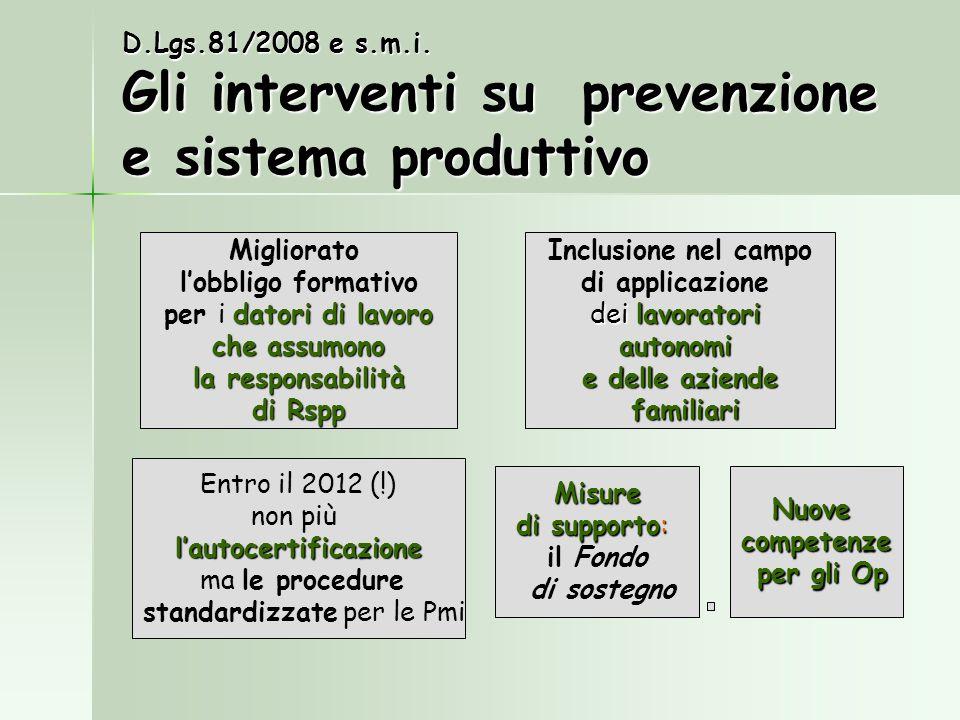 D.Lgs.81/2008 e s.m.i. Gli interventi su prevenzione e sistema produttivo Entro il 2012 (!) non piùlautocertificazione ma le procedure standardizzate