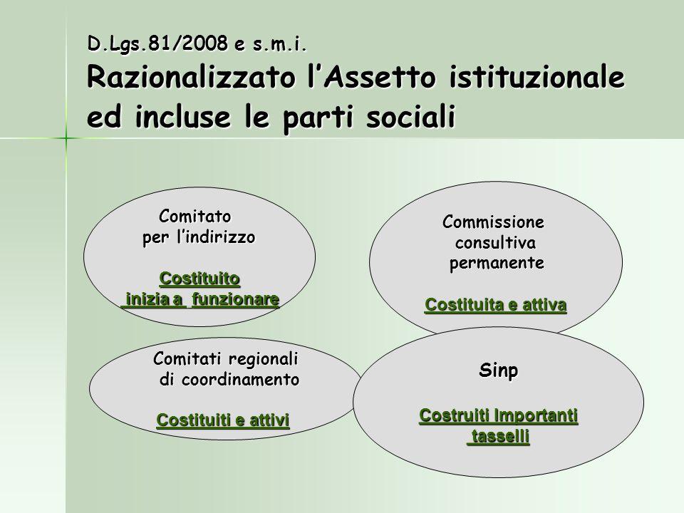 D.Lgs.81/2008 e s.m.i. Razionalizzato lAssetto istituzionale ed incluse le parti sociali Commissioneconsultiva permanente permanente Costituita e atti