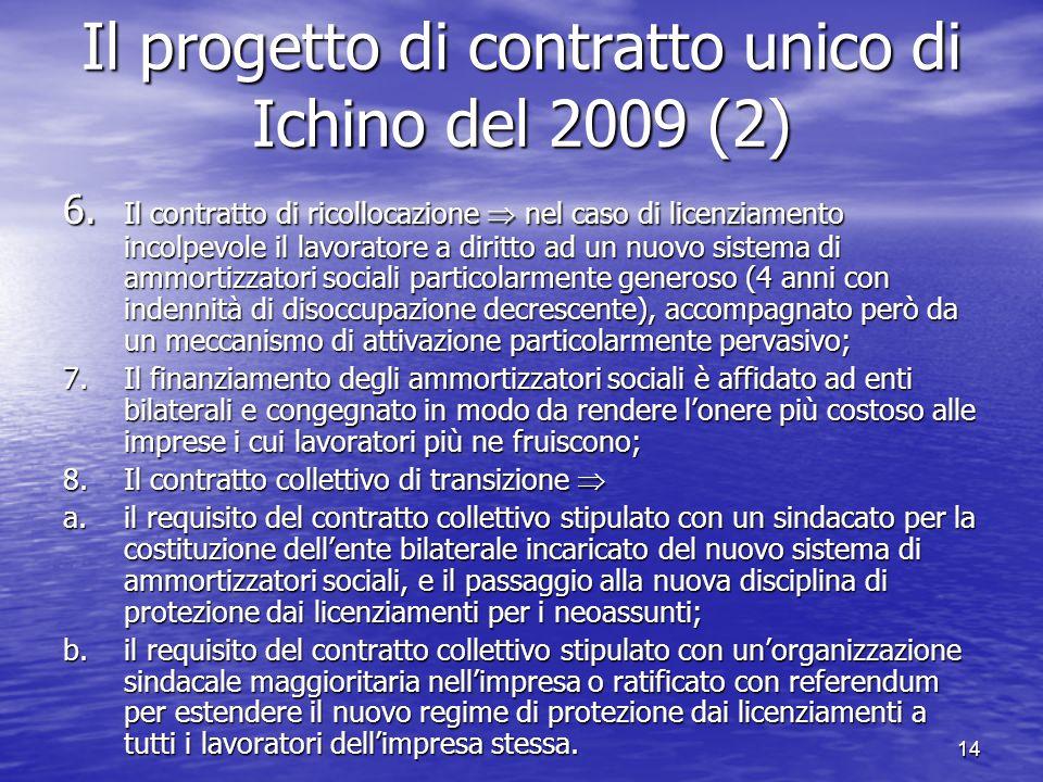 14 Il progetto di contratto unico di Ichino del 2009 (2) 6.
