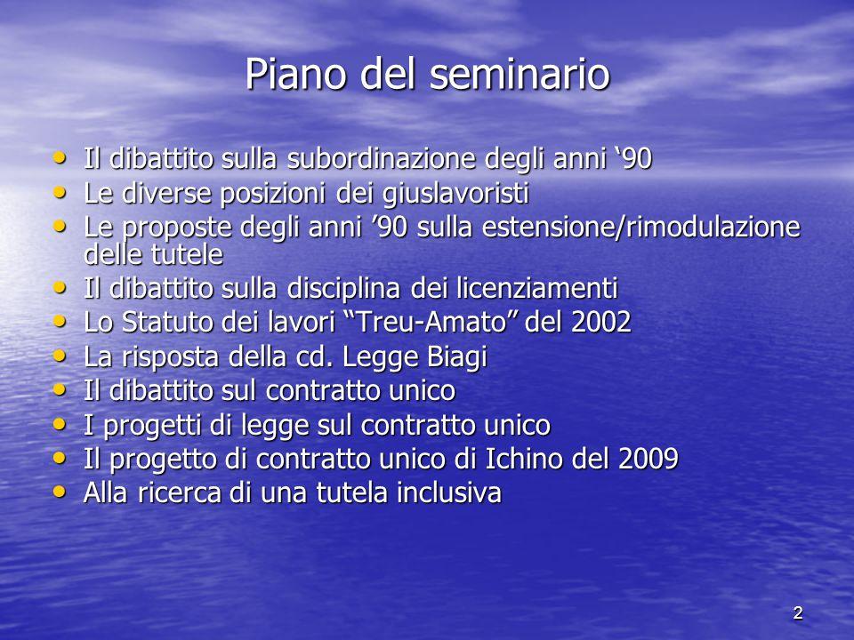 3 Il dibattito sulla subordinazione degli anni 90 Il dibattito sulla crisi del contratto di lavoro subordinato standard.