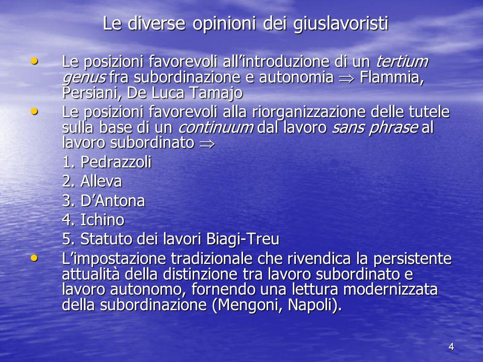 Alla ricerca di una tutela inclusiva La piccola rivoluzione del Diritto del lavoro del 2011-2012 La piccola rivoluzione del Diritto del lavoro del 2011-2012 1.