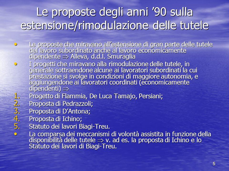 5 Le proposte degli anni 90 sulla estensione/rimodulazione delle tutele Le proposte che miravano allestensione di gran parte delle tutele del lavoro subordinato anche al lavoro economicamente dipendente Alleva, d.d.l.