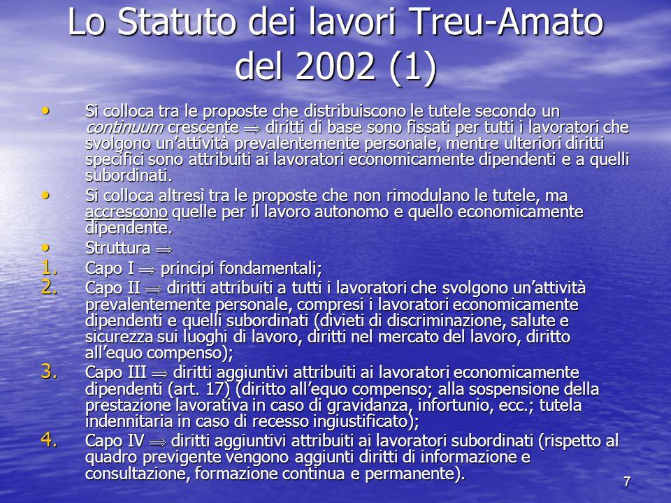 8 Lo Statuto dei lavori Treu-Amato del 2002 (2) Il dibattito sul progetto di Statuto dei lavori Il dibattito sul progetto di Statuto dei lavori Le critiche della CGIL Le critiche della CGIL la proposta differenzia arbitrariamente la disciplina dei lavoratori economicamente dipendenti e quella dei lavoratori subordinati sulla base del criterio della modalità della esecuzione della prestazione (eterodirezione coordinazione), assunto come poco rilevante; la proposta differenzia arbitrariamente la disciplina dei lavoratori economicamente dipendenti e quella dei lavoratori subordinati sulla base del criterio della modalità della esecuzione della prestazione (eterodirezione coordinazione), assunto come poco rilevante; i singoli diritti attribuiti ai lavoratori economicamente indipendenti vengono considerati insufficienti per farli uscire dalla precarietà (ad es.