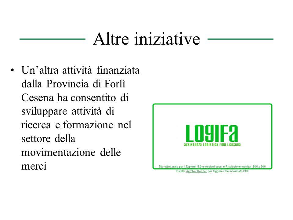 Altre iniziative Unaltra attività finanziata dalla Provincia di Forlì Cesena ha consentito di sviluppare attività di ricerca e formazione nel settore della movimentazione delle merci