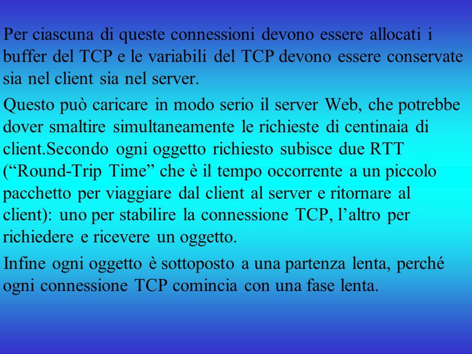 Per ciascuna di queste connessioni devono essere allocati i buffer del TCP e le variabili del TCP devono essere conservate sia nel client sia nel serv