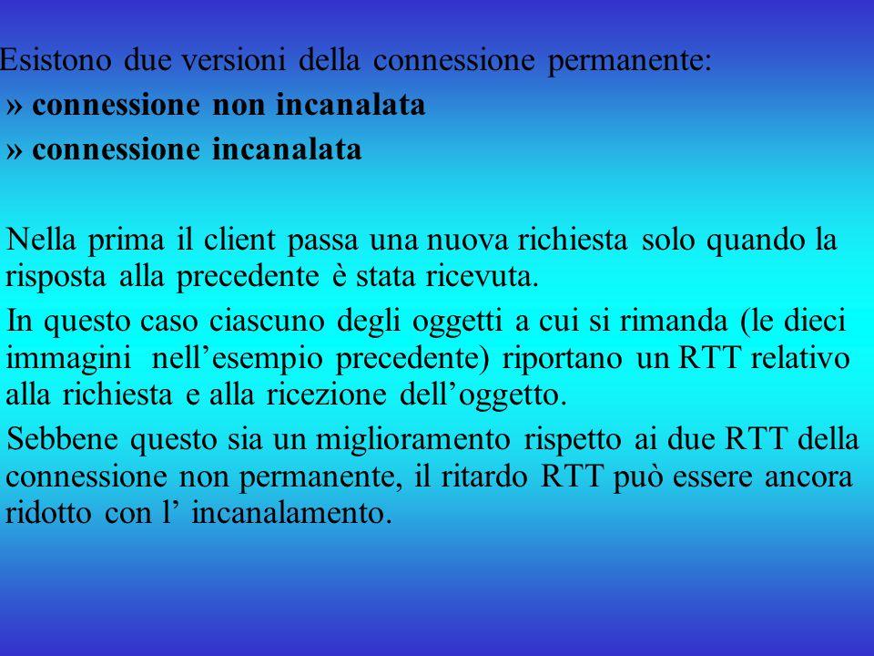 Esistono due versioni della connessione permanente: » connessione non incanalata » connessione incanalata Nella prima il client passa una nuova richie
