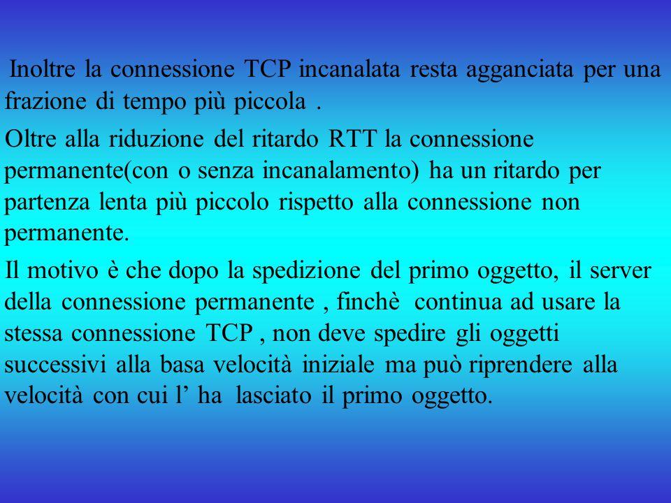 Inoltre la connessione TCP incanalata resta agganciata per una frazione di tempo più piccola. Oltre alla riduzione del ritardo RTT la connessione perm