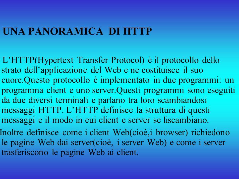 UNA PANORAMICA DI HTTP LHTTP(Hypertext Transfer Protocol) è il protocollo dello strato dellapplicazione del Web e ne costituisce il suo cuore.Questo p