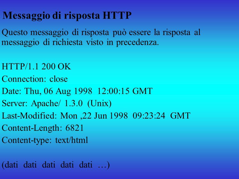 Messaggio di risposta HTTP Questo messaggio di risposta può essere la risposta al messaggio di richiesta visto in precedenza. HTTP/1.1 200 OK Connecti