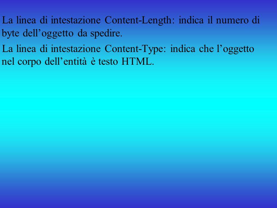 La linea di intestazione Content-Length: indica il numero di byte delloggetto da spedire. La linea di intestazione Content-Type: indica che loggetto n