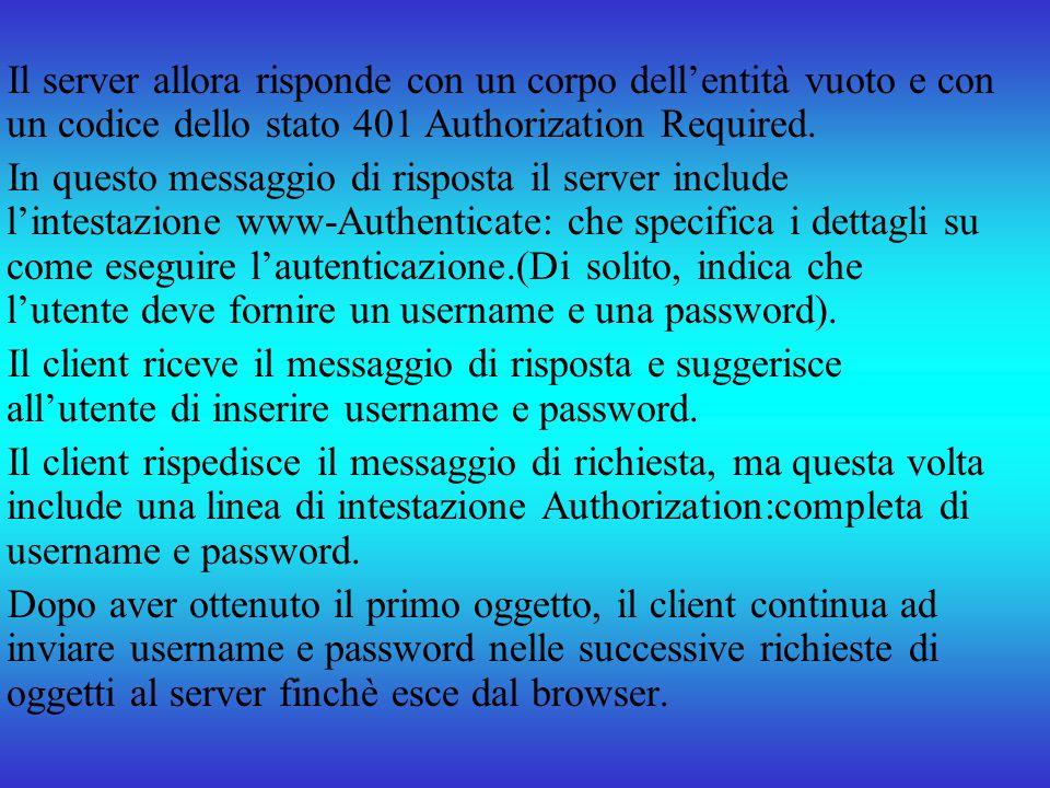 Il server allora risponde con un corpo dellentità vuoto e con un codice dello stato 401 Authorization Required. In questo messaggio di risposta il ser