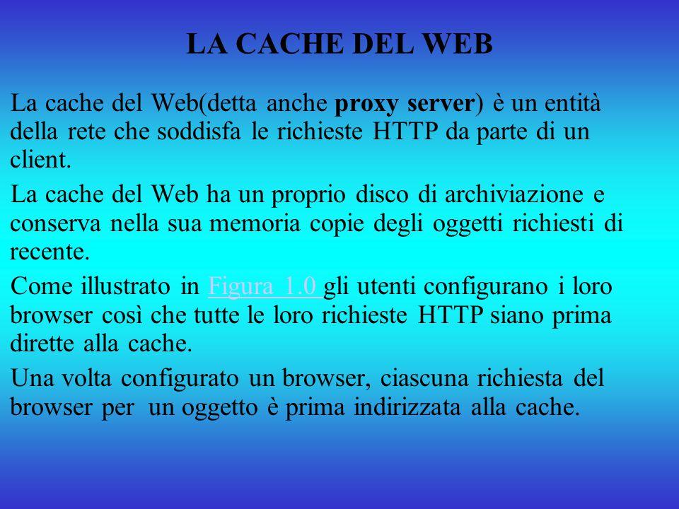 LA CACHE DEL WEB La cache del Web(detta anche proxy server) è un entità della rete che soddisfa le richieste HTTP da parte di un client. La cache del