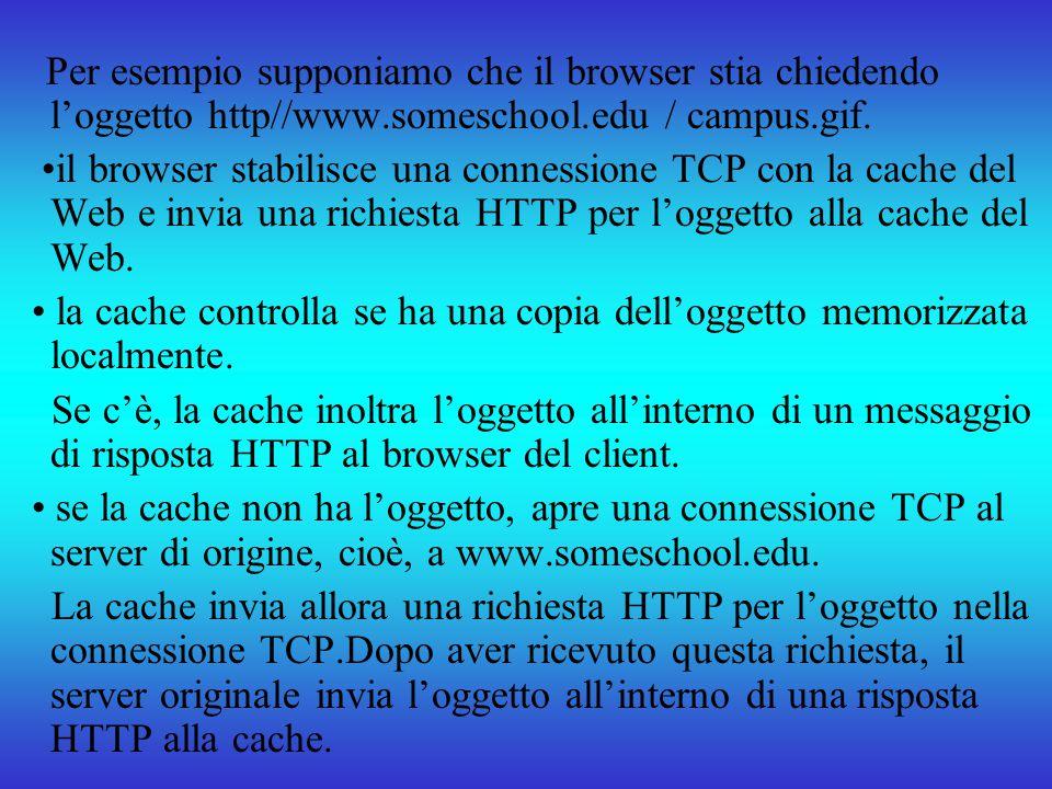 Per esempio supponiamo che il browser stia chiedendo loggetto http//www.someschool.edu / campus.gif. il browser stabilisce una connessione TCP con la