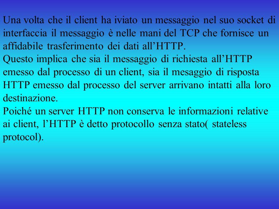 Una volta che il client ha iviato un messaggio nel suo socket di interfaccia il messaggio è nelle mani del TCP che fornisce un affidabile trasferiment