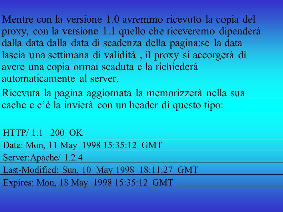 Mentre con la versione 1.0 avremmo ricevuto la copia del proxy, con la versione 1.1 quello che riceveremo dipenderà dalla data dalla data di scadenza