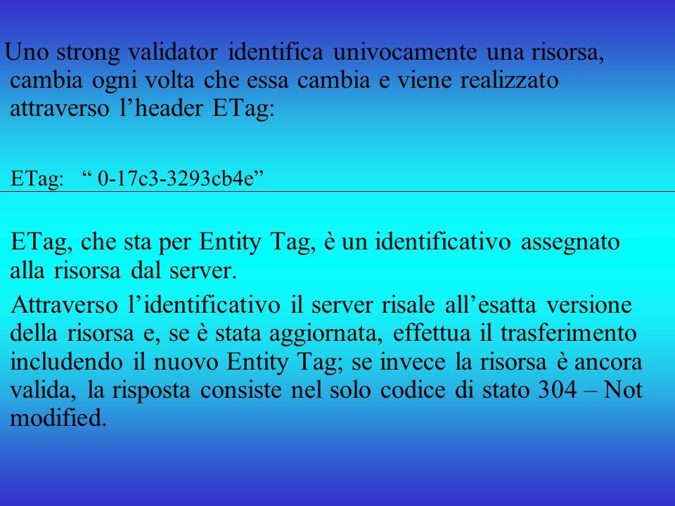 Uno strong validator identifica univocamente una risorsa, cambia ogni volta che essa cambia e viene realizzato attraverso lheader ETag: ETag: 0-17c3-3