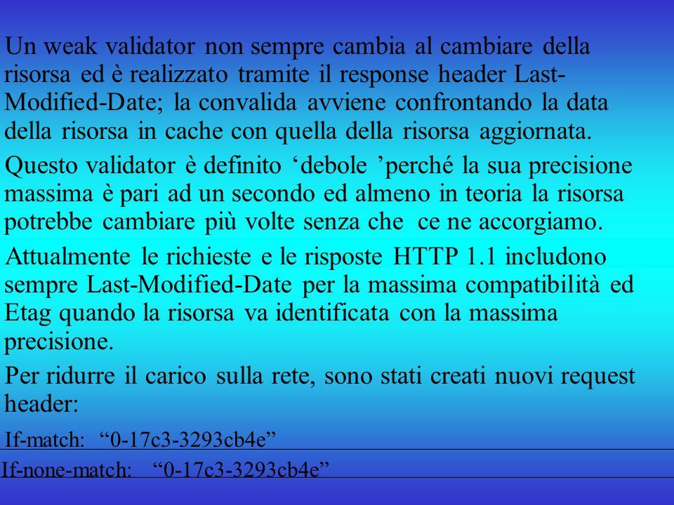 Un weak validator non sempre cambia al cambiare della risorsa ed è realizzato tramite il response header Last- Modified-Date; la convalida avviene con