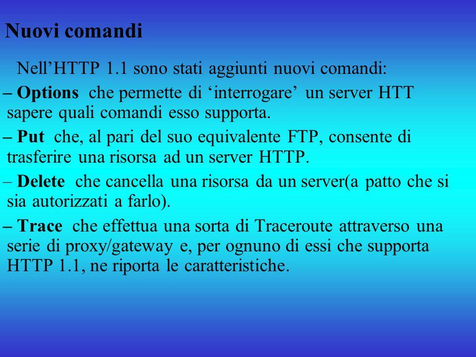 Nuovi comandi NellHTTP 1.1 sono stati aggiunti nuovi comandi: – Options che permette di interrogare un server HTT sapere quali comandi esso supporta.