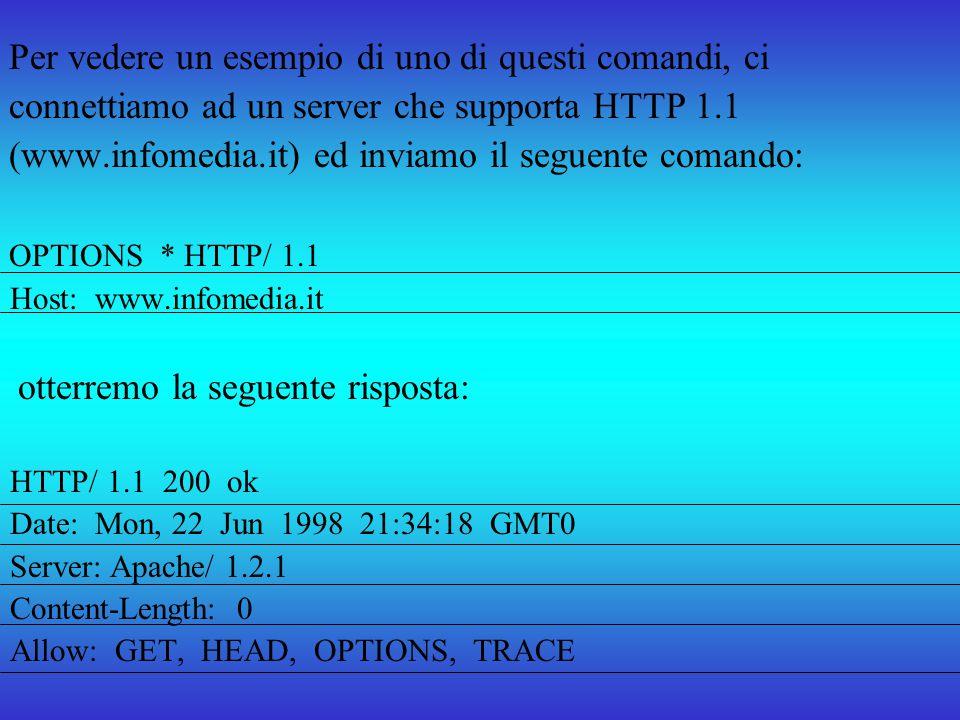 Per vedere un esempio di uno di questi comandi, ci connettiamo ad un server che supporta HTTP 1.1 (www.infomedia.it) ed inviamo il seguente comando: O