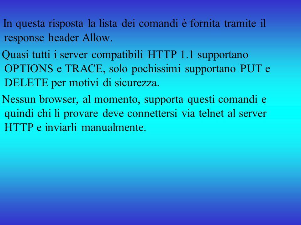 In questa risposta la lista dei comandi è fornita tramite il response header Allow. Quasi tutti i server compatibili HTTP 1.1 supportano OPTIONS e TRA