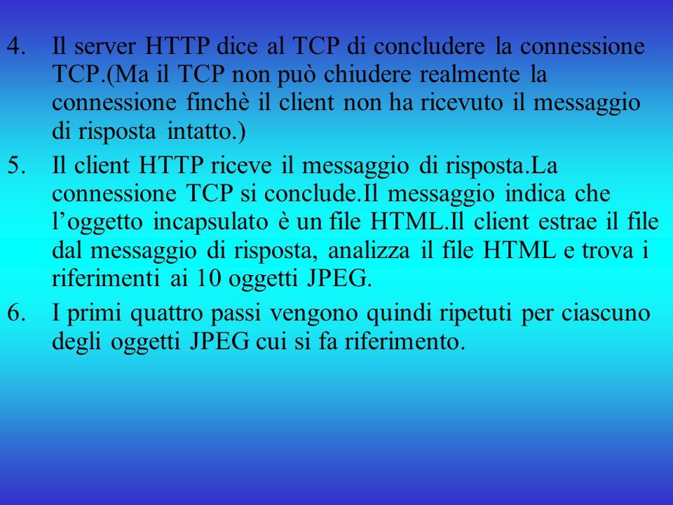 4.Il server HTTP dice al TCP di concludere la connessione TCP.(Ma il TCP non può chiudere realmente la connessione finchè il client non ha ricevuto il