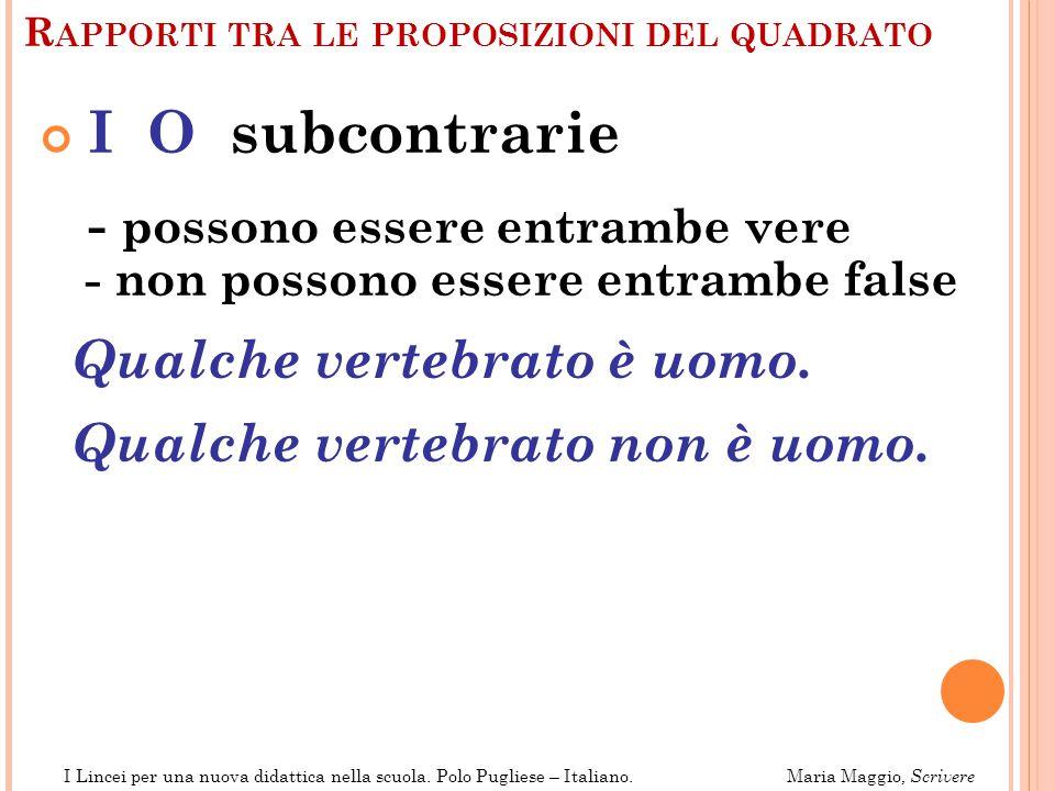 R APPORTI TRA LE PROPOSIZIONI DEL QUADRATO A O, I E contraddittorie - non possono essere entrambe vere Tutti gli uomini sono mortali.