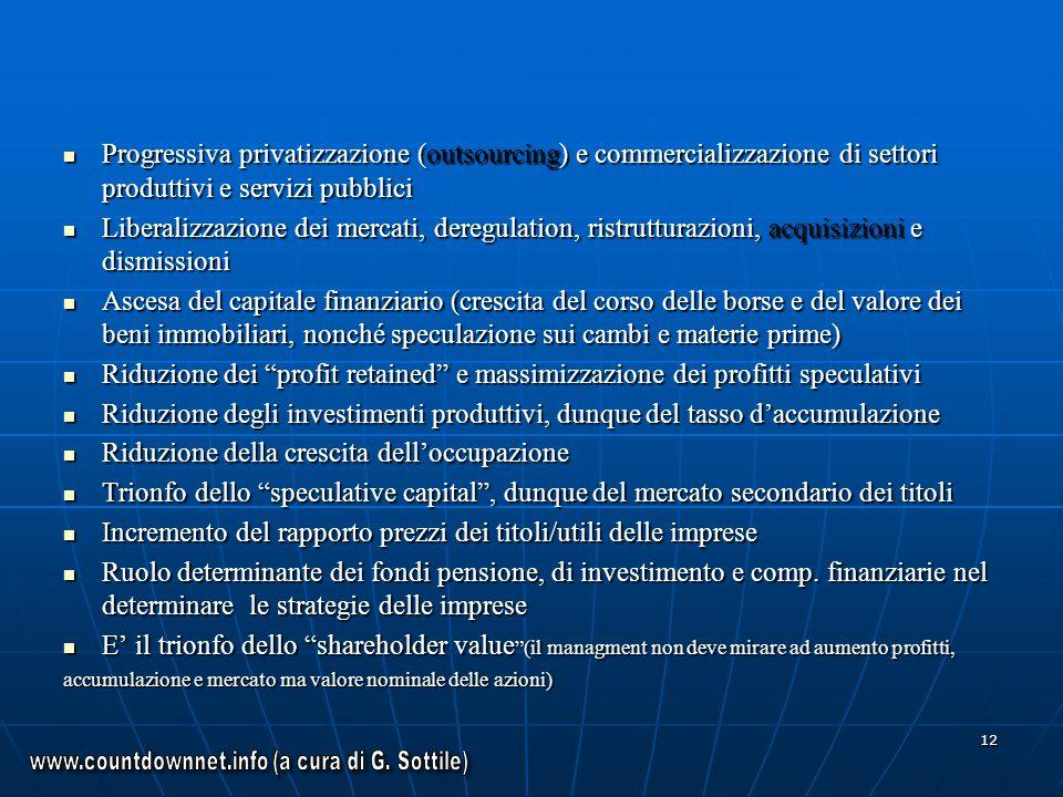 12 Progressiva privatizzazione (outsourcing) e commercializzazione di settori produttivi e servizi pubblici Progressiva privatizzazione (outsourcing)