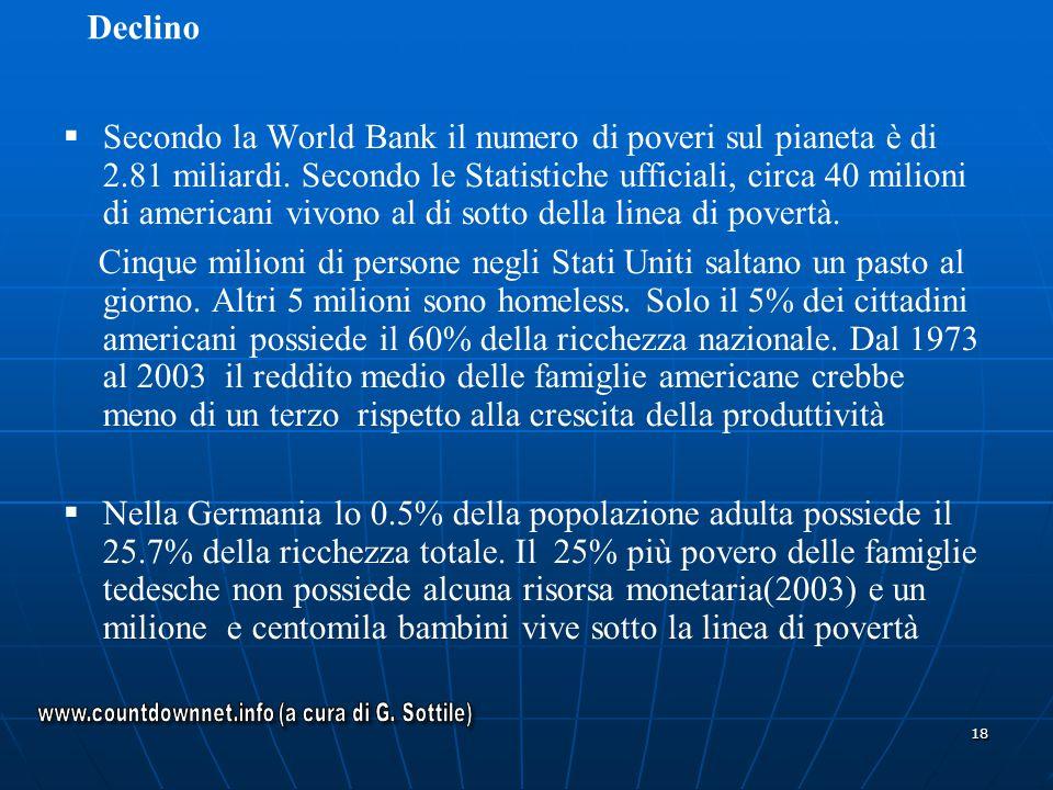 18 Secondo la World Bank il numero di poveri sul pianeta è di 2.81 miliardi. Secondo le Statistiche ufficiali, circa 40 milioni di americani vivono al