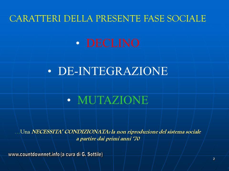 2 CARATTERI DELLA PRESENTE FASE SOCIALE DECLINO DE-INTEGRAZIONE MUTAZIONE NECESSITA CONDIZIONATA: la non riproduzione del sistema sociale … Una NECESS