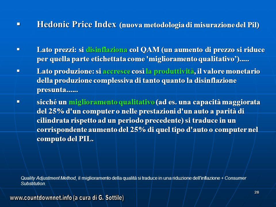 28 Hedonic Price Index (nuova metodologia di misurazione del Pil) Hedonic Price Index (nuova metodologia di misurazione del Pil) Lato prezzi: si disin