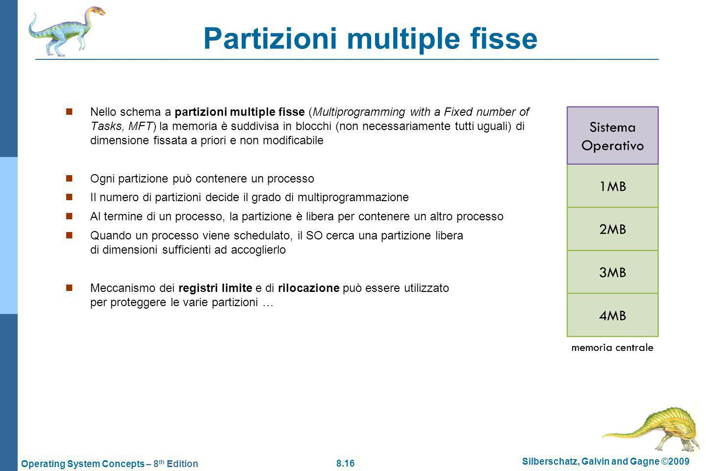 8.16 Silberschatz, Galvin and Gagne ©2009 Operating System Concepts – 8 th Edition Partizioni multiple fisse Nello schema a partizioni multiple fisse