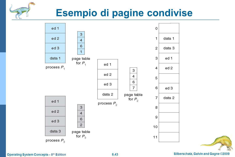 8.43 Silberschatz, Galvin and Gagne ©2009 Operating System Concepts – 8 th Edition Esempio di pagine condivise