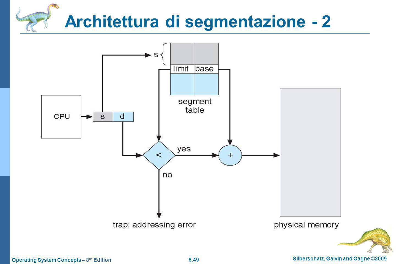 8.49 Silberschatz, Galvin and Gagne ©2009 Operating System Concepts – 8 th Edition Architettura di segmentazione - 2