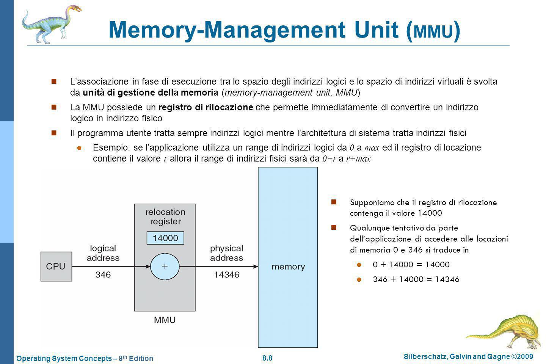 8.39 Silberschatz, Galvin and Gagne ©2009 Operating System Concepts – 8 th Edition Memoria associativa (o TLB) - 2 Nella memoria associativa viene caricata una porzione della tabella della pagine (anche tutta se è possibile) Ad ogni chiave corrisponde un numero di pagina a cui corrisponde un frame Per ogni indirizzo logico ( p,d ), il numero di pagina p viene dato in input alla memoria associativa per ottenere il relativo frame Se la ricerca ha successo (hit) si ha solo una penalizzazione del 10% del tempo di accesso alla memoria senza paginazione Se la ricerca fallisce (TLB miss) allora occorre usare la tabella delle pagine nella RAM #pagina (chiave)#frame