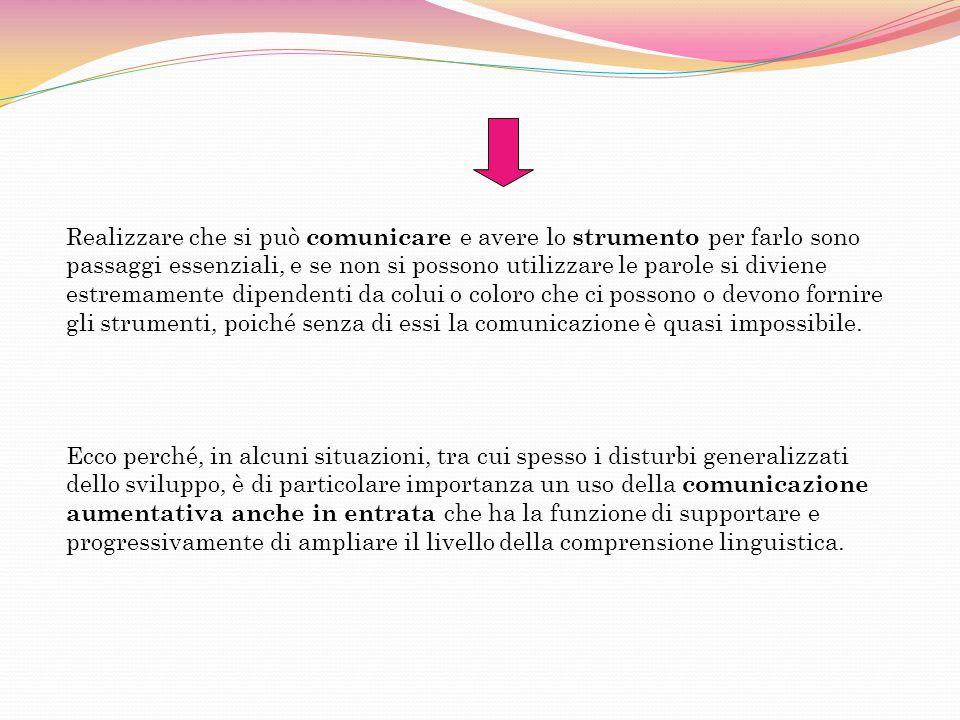 Ecco perché, in alcuni situazioni, tra cui spesso i disturbi generalizzati dello sviluppo, è di particolare importanza un uso della comunicazione aumentativa anche in entrata che ha la funzione di supportare e progressivamente di ampliare il livello della comprensione linguistica.