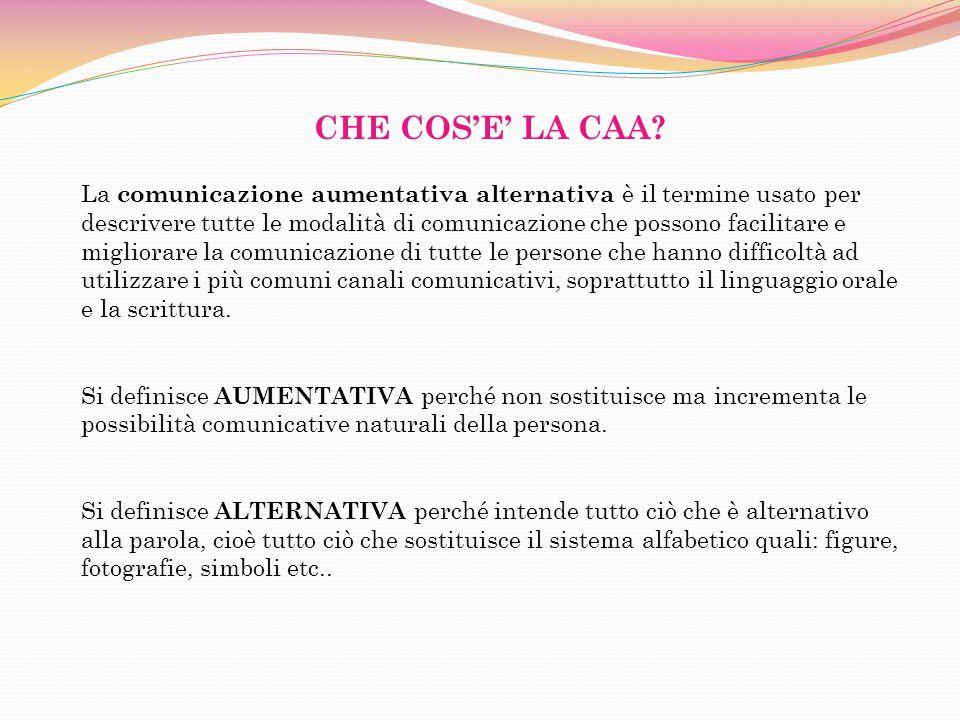 CHE COSE LA CAA? La comunicazione aumentativa alternativa è il termine usato per descrivere tutte le modalità di comunicazione che possono facilitare