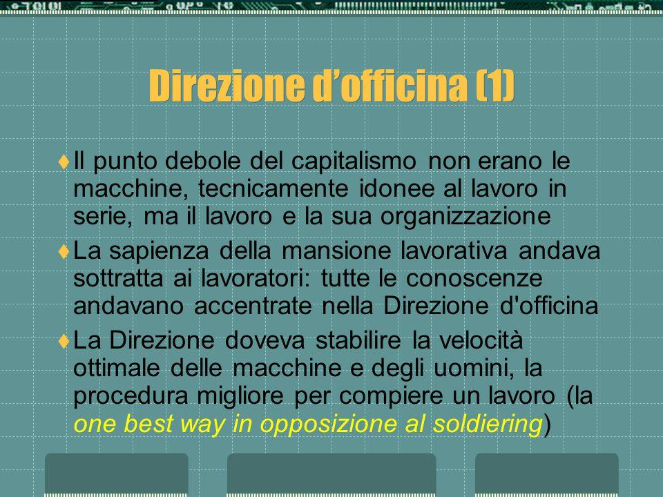 Direzione dofficina (1) Il punto debole del capitalismo non erano le macchine, tecnicamente idonee al lavoro in serie, ma il lavoro e la sua organizza