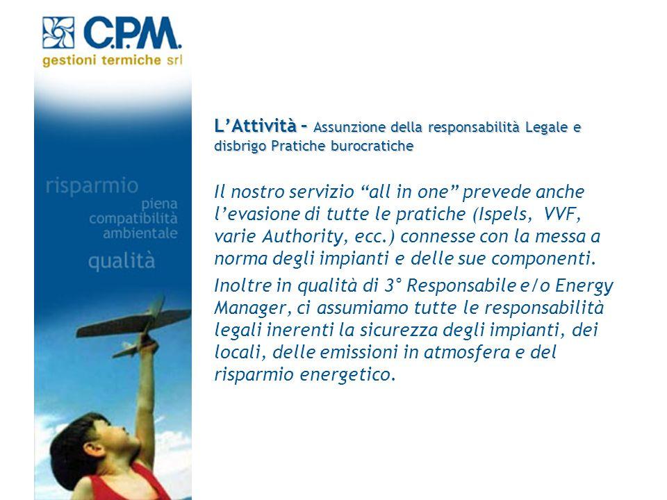 LAttività – Assunzione della responsabilità Legale e disbrigo Pratiche burocratiche Il nostro servizio all in one prevede anche levasione di tutte le
