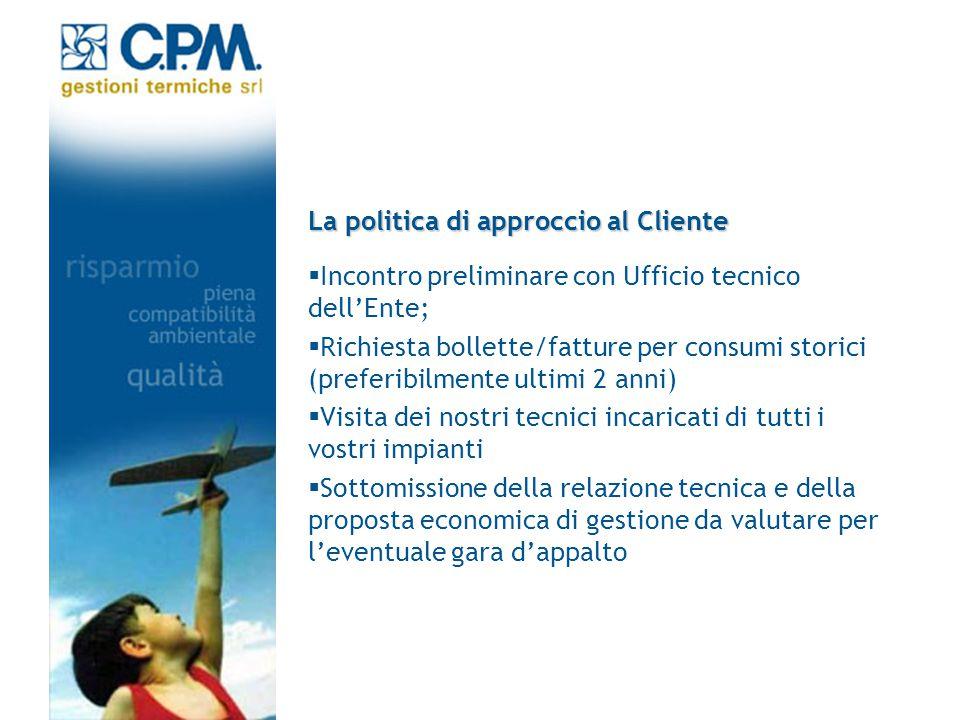 La politica di approccio al Cliente Incontro preliminare con Ufficio tecnico dellEnte; Richiesta bollette/fatture per consumi storici (preferibilmente