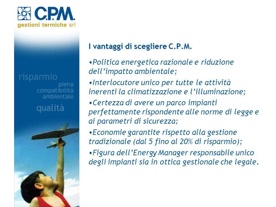I vantaggi di scegliere C.P.M. Politica energetica razionale e riduzione dellimpatto ambientale; Interlocutore unico per tutte le attività inerenti la