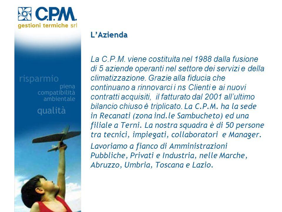LAzienda La C.P.M. viene costituita nel 1988 dalla fusione di 5 aziende operanti nel settore dei servizi e della climatizzazione. Grazie alla fiducia