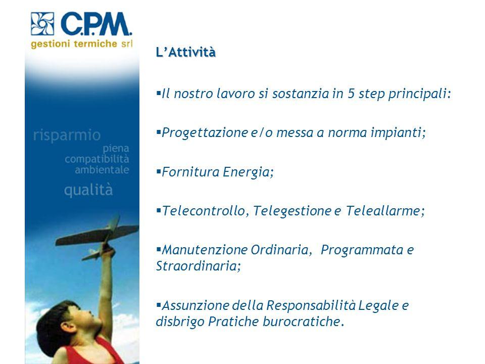 LAttività Il nostro lavoro si sostanzia in 5 step principali: Progettazione e/o messa a norma impianti; Fornitura Energia; Telecontrollo, Telegestione