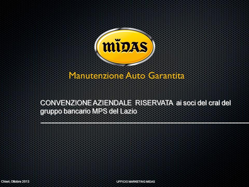 CHI SIAMO RETE SUL TERRITORIO UN BRAND PRESENTE IN 8 PAESI, CON OLTRE 630 CENTRI, DI CUI 75 IN ITALIA MERCATO ITALIA MANUTENZIONE E ASSISTENZA PER: - LE AUTO NUOVE (MIDAS INTERVIENE SU TUTTE LE VETTURE COPERTE DA GARANZIA DELLA CASA MADRE - LE AUTO FUORI GARANZIA, DI QUALSIASI ETÀ.